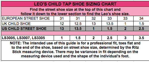 Image result for leo shoes size chart