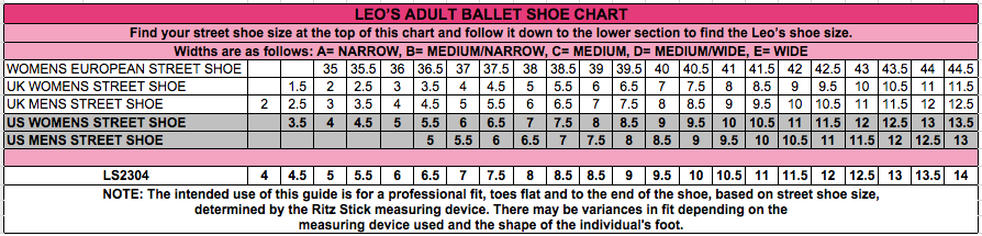 Pointe Shoe Size Chart Related Keywords Suggestions Pointe Shoe