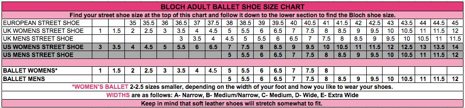 Bloch Ballet Shoes Size Chart | amulette