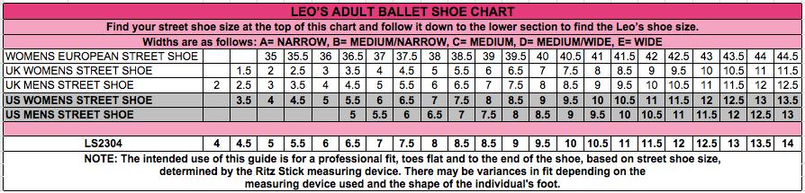 Bloch Serenade Pointe Shoe Size Chart